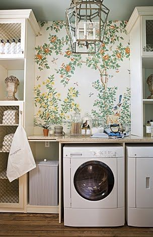 what a laundry. Dennis & Leen lantern and Stark handpainted mural paper
