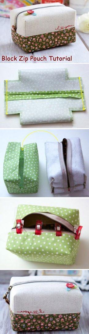 How to make this cute block zip pouch. DIY Tutorial. Сумочка-коробочка http://www.handmadiya.com/2015/09/block-zip-pouch-tutorial.html