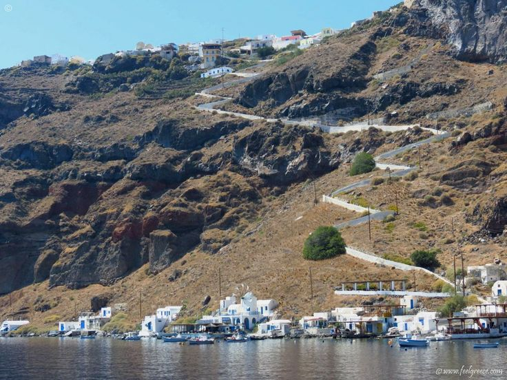 The long way up to Manolas village, Thirasia - a small island with old houses next to Santorini