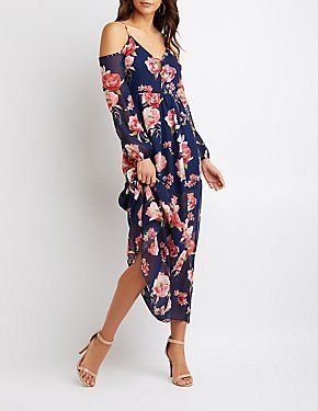 6fc116aee95 Floral Cold Shoulder Maxi Dress