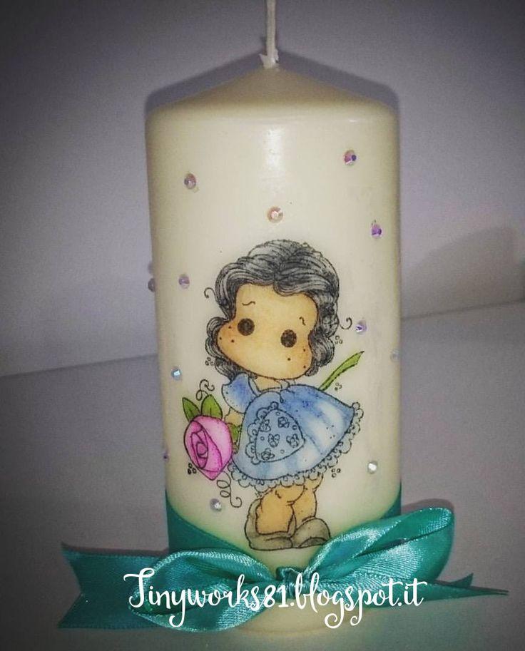 Tutorial decorare una candela con i timbri Magnolia