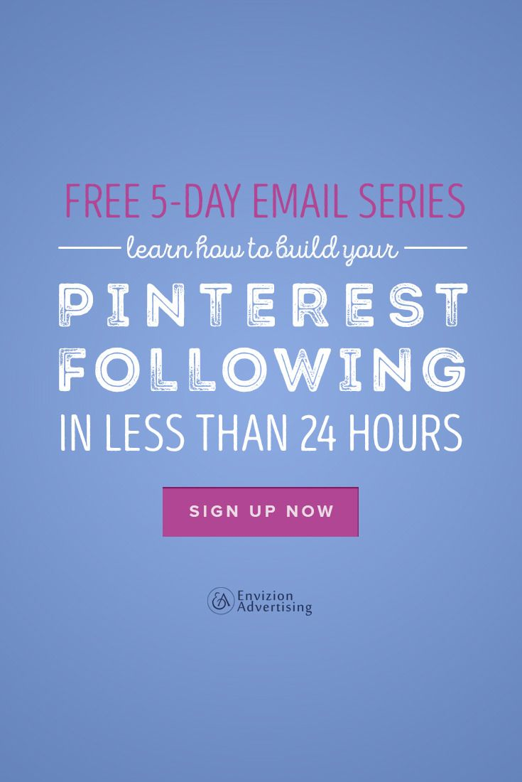 Learn how to build your Pinterest following in less that 24 hours! http://envizionadvertising.com/pinterest-marketing-strategy/#utm_sguid=134760,3c4b36da-34d2-e3c1-484a-f4574f9a38f9