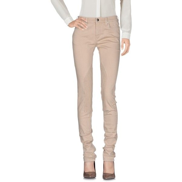 Prada Casual Pants ($352) ❤ liked on Polyvore featuring pants, beige, 5 pocket pants, slim fit pants, cotton pants, slim fit trousers and tapered leg pants