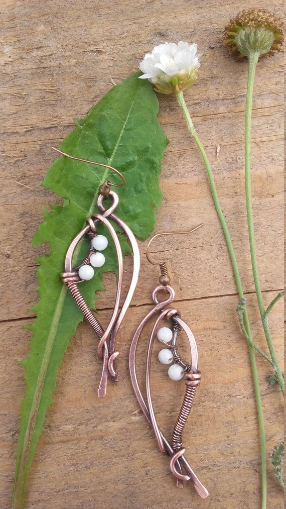 Wire wrapped fairy earrings with natural white Jade beads,Copper earrings,Wire earrings, ,Wire jewelry,Fairy jewelry,Bohemian jewelry
