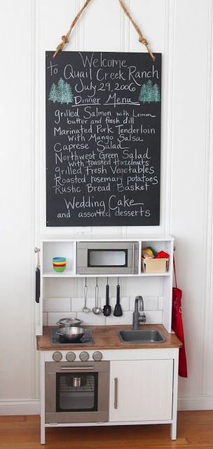 { DIY } ikea duktig hack: play kitchen with a chalkboard hanging above