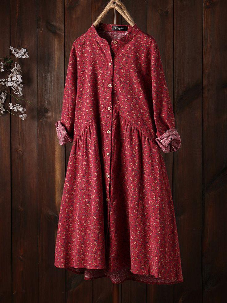 Vintage Floral Print Long Sleeve Loose Plus Size Dress