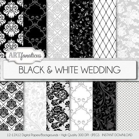 """Carta di matrimonio documenti digitali """"Sposa bianco nero &"""" sposa elegante bianco e nero con Damasco, pizzo, fantasie floreali e altro"""