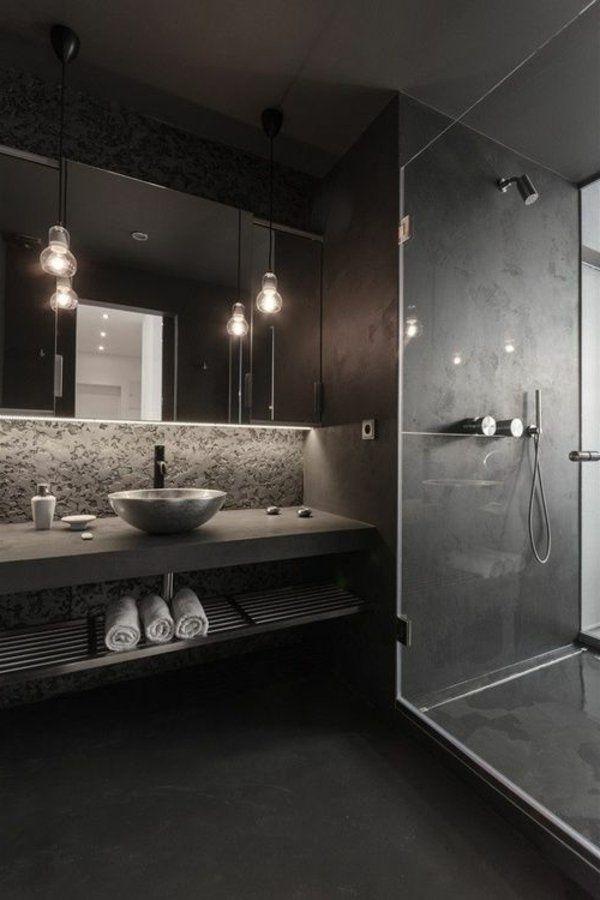 salle de bains grise, petite vasque ovale et ampoules électriques suspendues