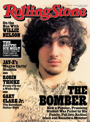 """Is the cover glamourizing what Tsarnaev did? Is it too similar to the iconic Jim Morrison cover & therefore makes Tsarnaev look like a """"rock star""""? Should RS not have used a selfie"""