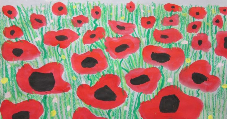 Second grade studied perspective to create these stunning poppy paintings.  They first drew a horizon line on either light blue or light gr...