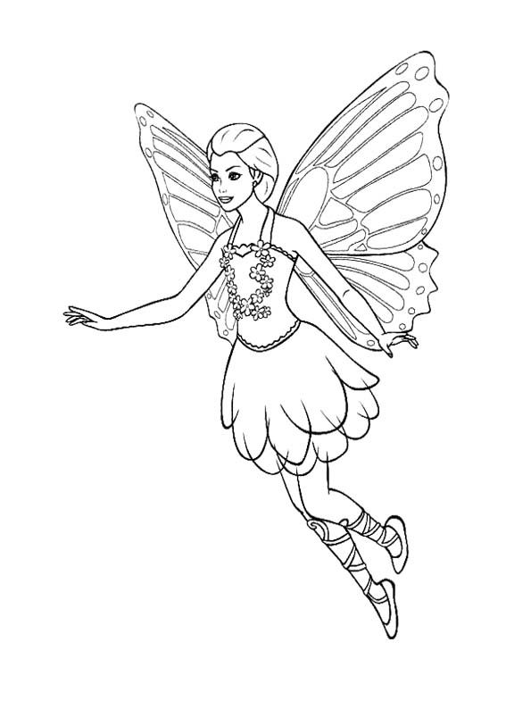 Fairy Flying Coloring Page | Kids Coloring Pages ...