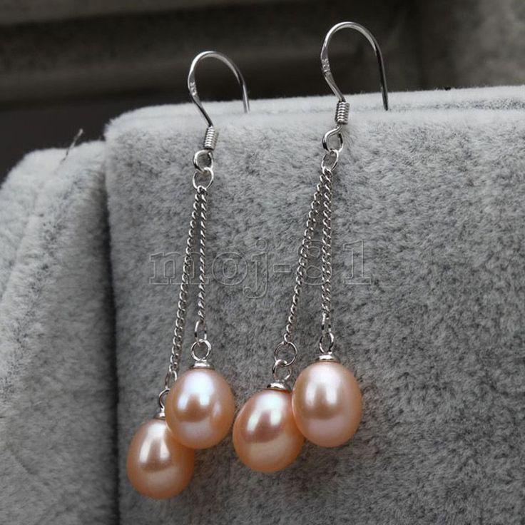 Women's 925 Sterling Silver Pink Akoya Pearl Long Ear Chain/Link Earrings