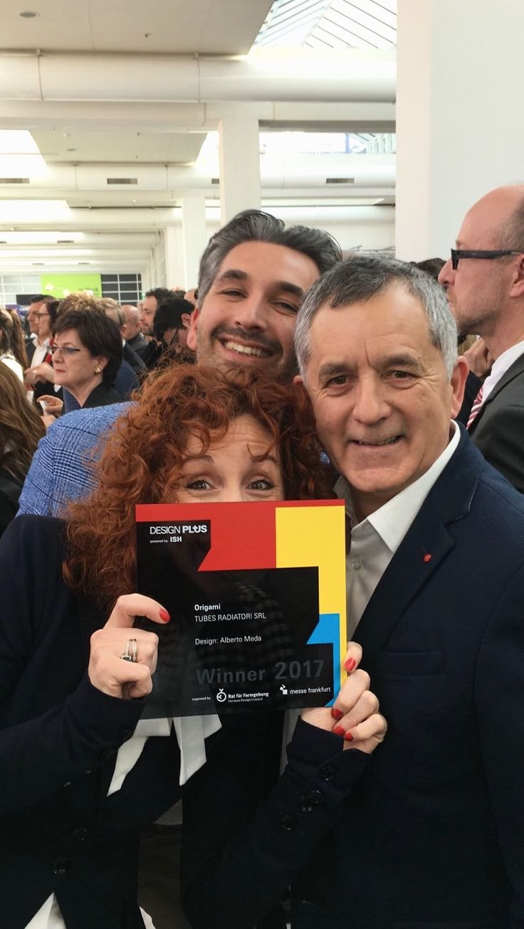 Another day starts in Frankfurt at ISH. We will wait for you at HALL 3.0 E56.  Yesterday was a great day as you can see in this image :)  A picture of Antonia, Renzo and Riccardo Crosetta just after the Ceremony of Design Plus Award.  Only four Italian companies have been awarded with the DESIGN PLUS and Tubes is one of them! #Tubesradiatori #DesignPlusAward #ISH