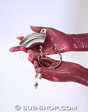 8738SM Steel Open-End Locking Chastity Tube & Cock Ring Make your partner do a little hard time with our Steel Open-End Locking Chastity Tube & Cock Ring! The lengthened device is a beautifully crafted stainless steel cock cage that marks a new era of male chastity with it's simple yet functional design. Chastity has never looked so good! There is truly no escaping this sexual Alcatraz, with its sleek stainless steel cock sleeve.