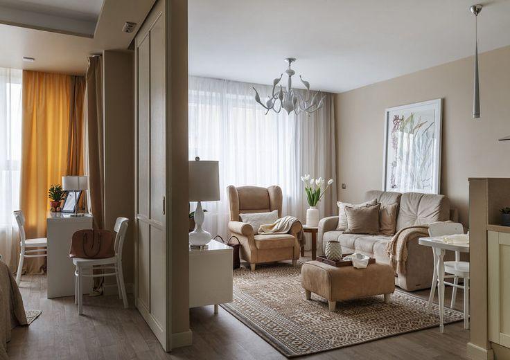 Szép és nyugodt vagy unalmas? Bézs árnyalatokkal dekorált 50m2-es lakás - tolóajtóval elválasztott háló és amerikai konyha