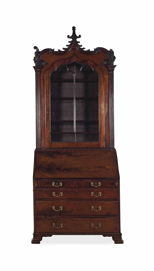a george ii mahogany secretaire bookcase third quarter 18th century meubles anciens. Black Bedroom Furniture Sets. Home Design Ideas