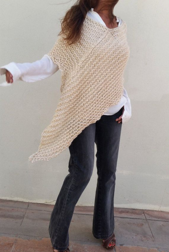 Poncho crema punto chal lana merino Poncho de lana por EstherTg
