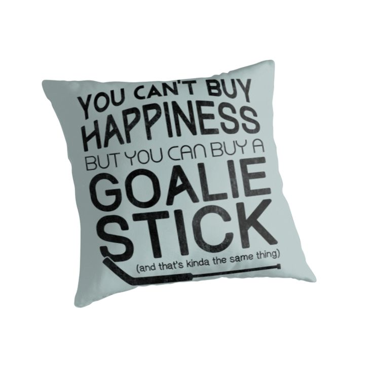 """""""Hockey Goalie Quote, You Can't Buy Happiness """" Throw Pillows. Throw pillows, available to purchase as covers only, or covers with inserts. #Redbubble #GameFaceGear #HockeyGoalie"""