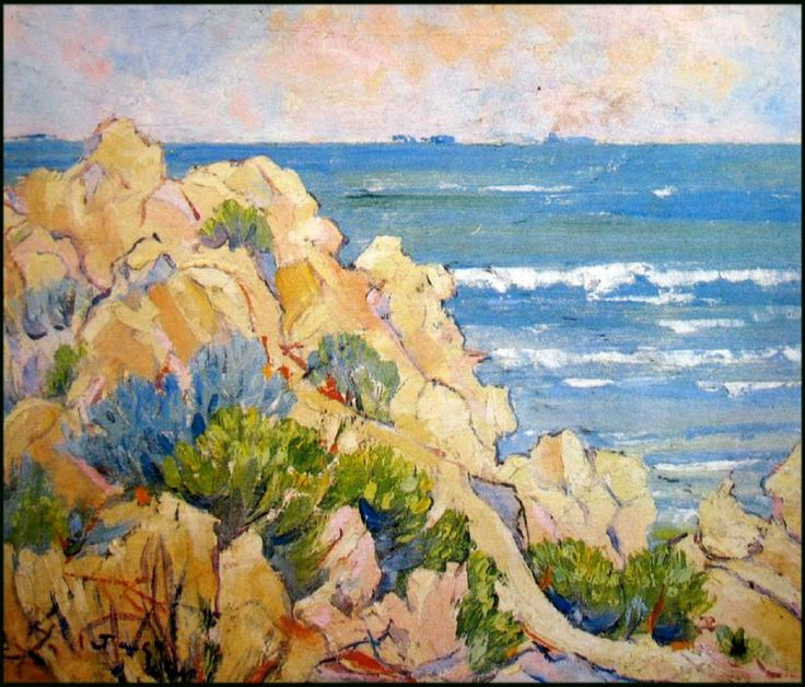 """Rocky Headland Cottesloe, Western Australia"", 1940, by Lionel Jago (1882-1953), Oil on Board, 36 x 43.5cm."