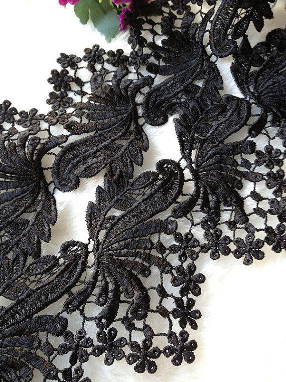 Vintage Style Black Lace Fabric Cotton Lace Trim by lacelindsay