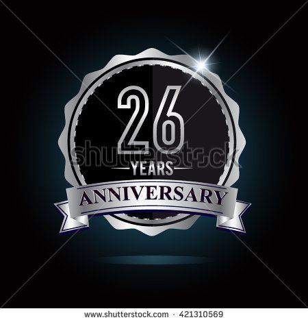 26th anniversary logo with ribbon. 26 years anniversary signs illustration. Silver anniversary logo with ribbon. - stock vector
