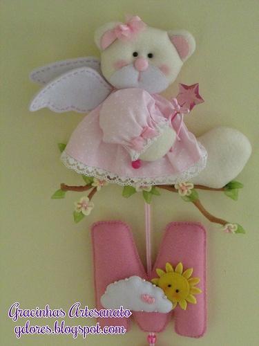 Mobile for nursery decoration Wallhanging...cute little girl bear angel...in felt...NO pattern