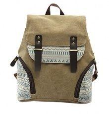 Fansela(TM) Womens Aztec Print Canvas Leather College School Backpack Travel bag (Khaki) - Backpacks n BagsBackpacks n Bags