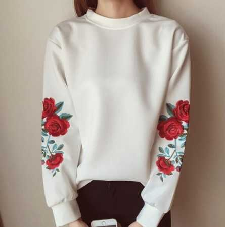 Rose flower embroidered hoodie without hood for ladies long sleeve