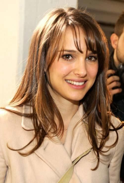 Natalie Portman. Thin fringe, tapered from lash length to jaw length, worn side swept. High forehead, oval face shape. 10 Stylish Hairstyles For Long ...