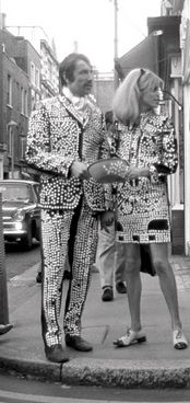 A Pearly King and Queen collecting for charity in Carnaby Street, 1966. #London #Pearly #Kings #Queens