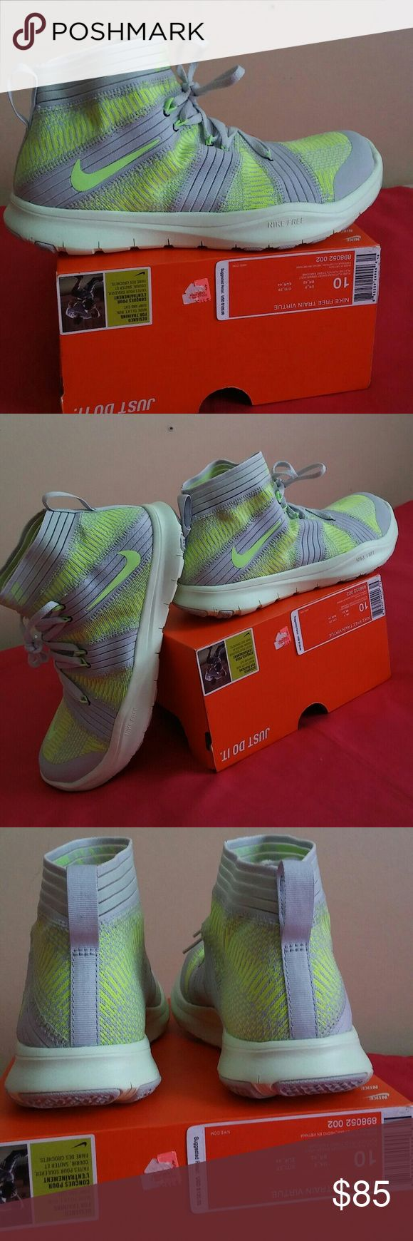 New Nike Free TR Virtue Ghost Volt Grn Size 10 Men Shoes is BRAND NEW IN ORIGINAL BOX..Top of box is ripped off. Purchased on sale from Nike for $90...Shoes is guaranteed to be 100% authentic nike merchandise. For MEN SIZE 10. Nike Shoes Sneakers