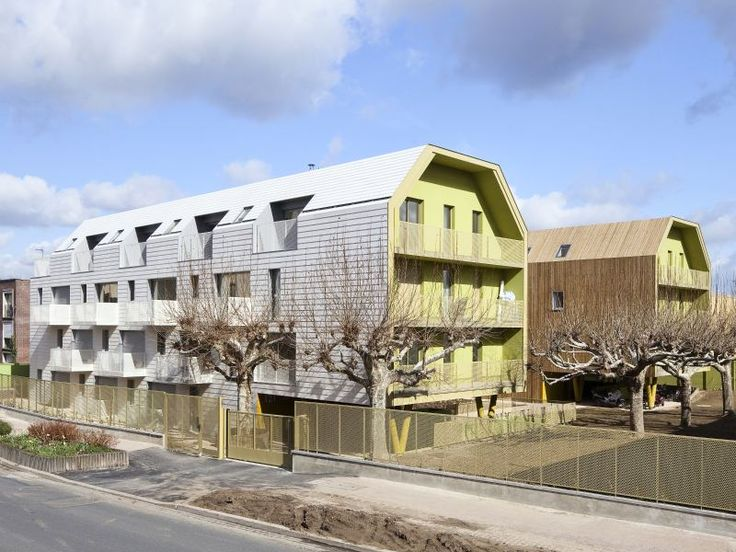 This new environmentally-sensitive social housing project in Bondy, France provides a beautiful series of apartments for 34 relocated families. Atelier du Pont (a member of the Plan01 collective) designed the U-shaped residential building, which provides naturally daylit, energy-efficient apartments for low-income families through the social organization Immobilière3F. Private balconies, a protected courtyard, and a grove of old trees make this project a charming place to live.