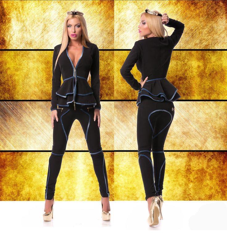 Damen 2-Teiler Set Blazer Jacke Hose Damen Jeans Kombination Schwarz Blau XS-M