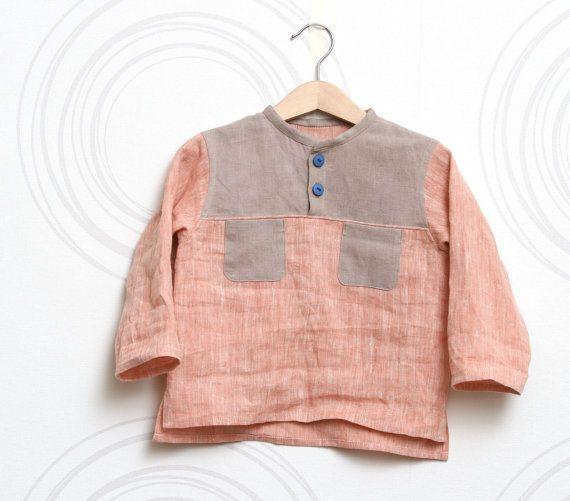 Natural linen toddler shirt by ZanziBach