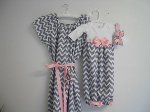 Boutique Gray Chevron Maternity and Delivery Gown Set sizes s-xl comes with matching Infant Gown Set great for coming home outfit on Etsy, $84.99 I'LL TAKE A GIFT CARD TO ETSY AS BABY SHOWER GIFTS Y'ALL.