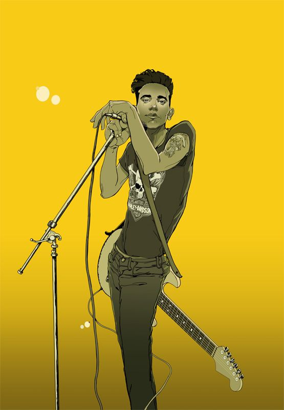 #gavinreece #newdivision #illustration #stylised #contemporary #textured #character #musician #band #guitarist #singer #music