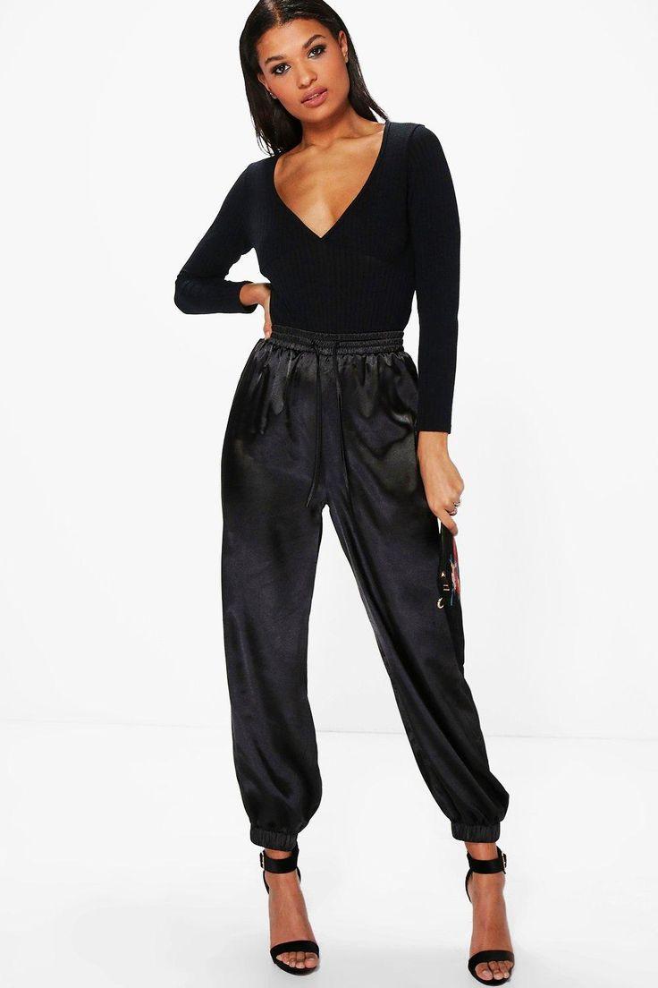 Lorena Satin Relaxed Hareem Trousers | Boohoo