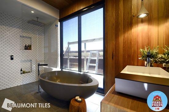 Bathroom from The Block Wall tile: Hexagonal Eggshell Bevel Mosaic Floor tile: Horm Flint Beaumont Tiles