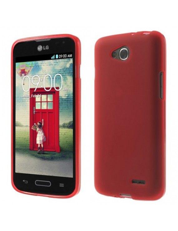 Θήκη Σιλικόνης TPU Ματ με Γυαλιστερά Άκρα για LG L90 D405 - Κόκκινο