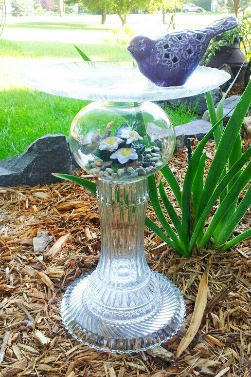 Repurposed Glassware Yard Art | Repurposed glass bird feeder. Yard art. Made by Laurie Flaherty