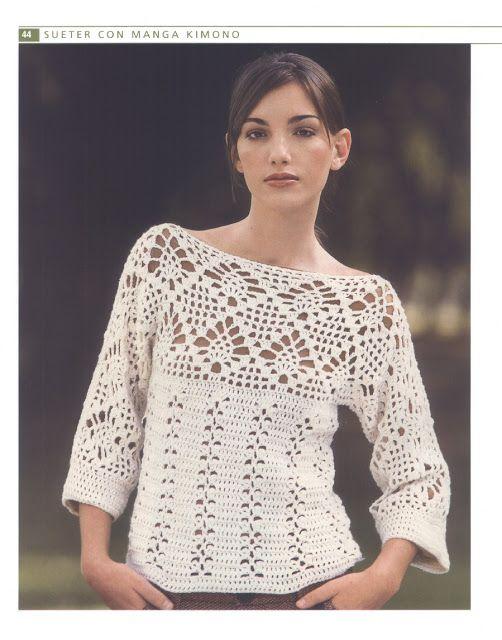 PATRONES GRATIS DE CROCHET: Patrón gratis de un bello jersey a crochet