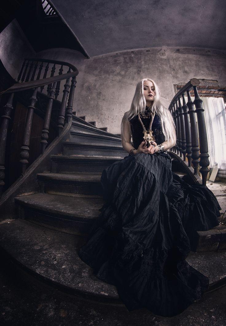 #model #abandoned #session #beauty #palace #Poland #photography #photoshot #black #Silverr #dress #gothic #woman