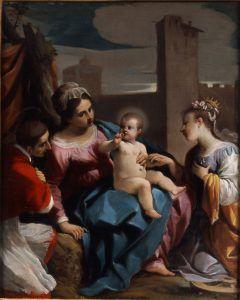 Джованни Франческо Барбьери, известный как Гуэрчино, Мистическое обручение святой Екатерины в присутствии Святого Чарльза Борромео, 1611-1612, масло на панели, 50,2 × 40,3 см