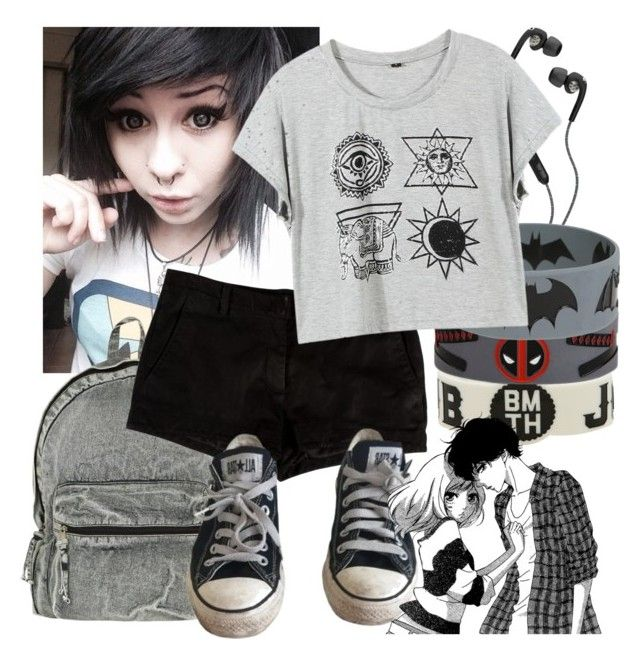 """Random look"" by natsuko-yuuki on Polyvore featuring L'Agence, Skullcandy and Converse"