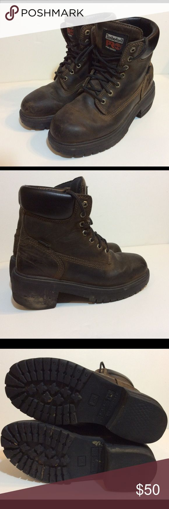 TIMBERLAND PRO SERIES BROWN LEATHER BOOTS 7.5 Wide Make this yours! Women's Timberland Pro Series Work Boots with Thermolite. Oil resistant. These are a WIDE size 7.5  Condition:  Some signs of wear. See pics. Timberland Shoes