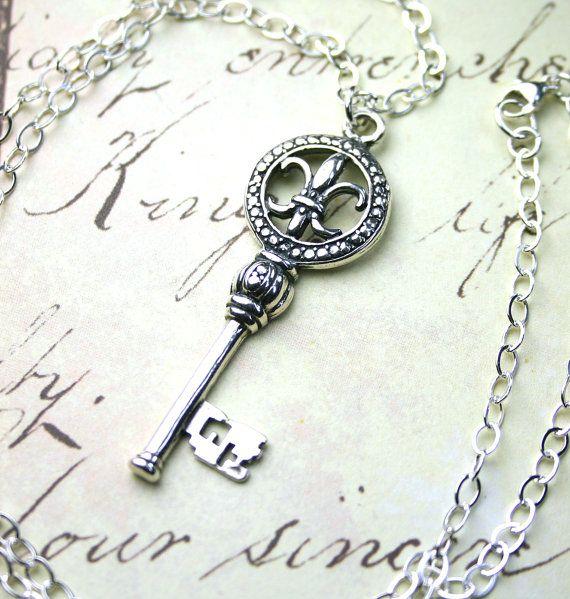 Sterling Silver Fluer-de-Lis Key Pendant - Vintage Silver Key Necklace - All Sterling Silver - Free Shipping on Etsy, $30.00