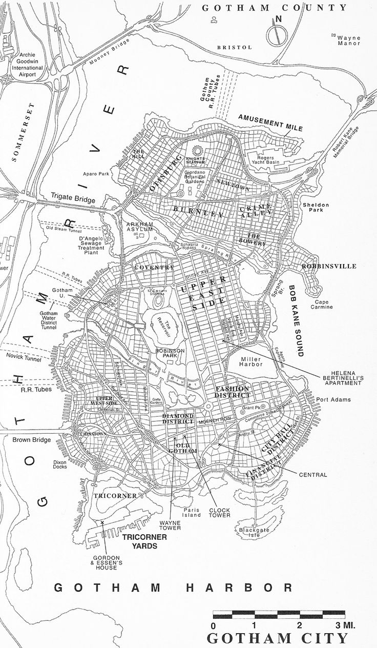 """Map of Gotham City from """"No Man's Land"""""""