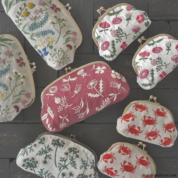 今日の18時、webshopにアップ予定の作品たちです。 https://yumikohiguchi.stores.jp/ (ご購入の際は、どうぞご記入間違いにご注意ください!) #embroidery #刺繍 #pouch