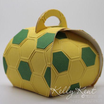 Norwich football/soccer theme - Soccer Ball Curvy Keepsake Box.  Kelly Kent - mypapercraftjourney.com.
