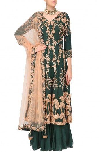 Reeti Arneja    Bottle Green Floral Embroidered Kurta with Sharara Pants  #happyshopping #shopnow #ppus